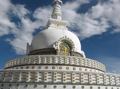 Standing erect the Shanti Stupa, Leh-Ladakh